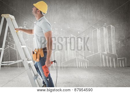 Handyman on ladder against hand drawn city plan