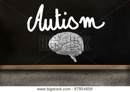 brain against blackboard on wall
