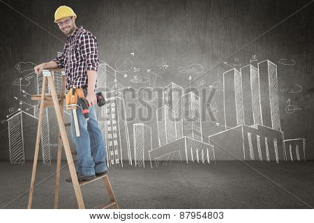 Repairman climbing ladder while holding power drill against hand drawn city plan