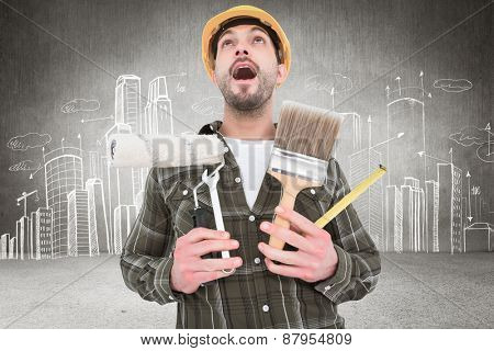Screaming manual worker holding various tools against hand drawn city plan