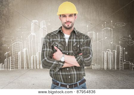 handyman smiling against hand drawn city plan