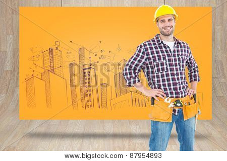 Handyman wearing tool belt while standing hands on hips against composite image of orange card