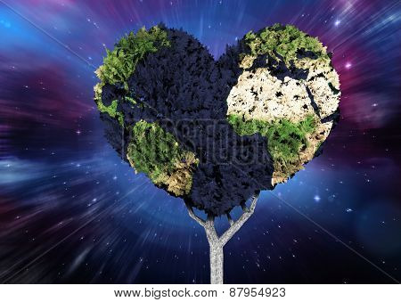 Heart shaped earth tree against outer space
