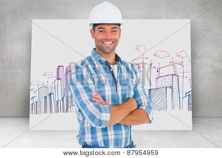 Confident manual working wearing hardhat against composite image of white card
