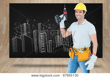 Carpenter holding cordless drill over white background against composite image of black card