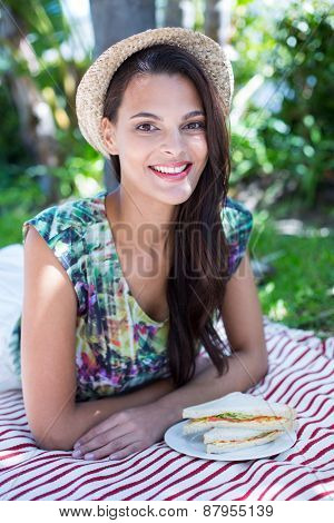 Smiling beautiful brunette having a picnic and looking at camera
