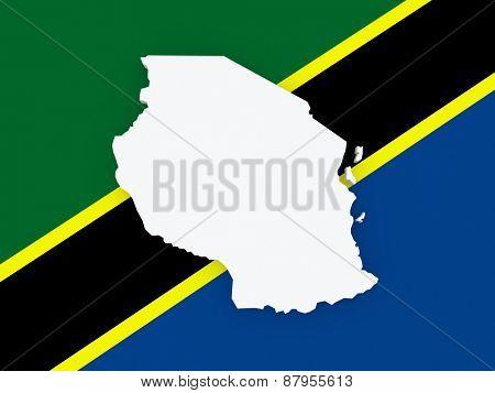 Map of Tanzania. 3d