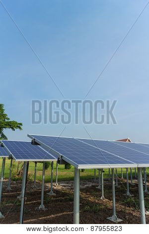 Solar cell panels in the sunlight