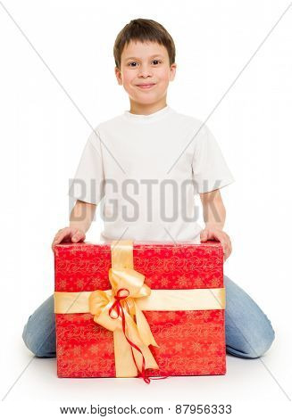 boy with red gift box