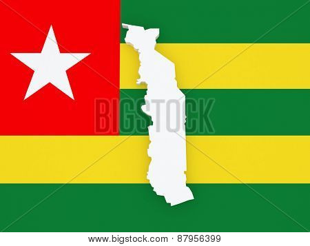 Map of Togo. 3d