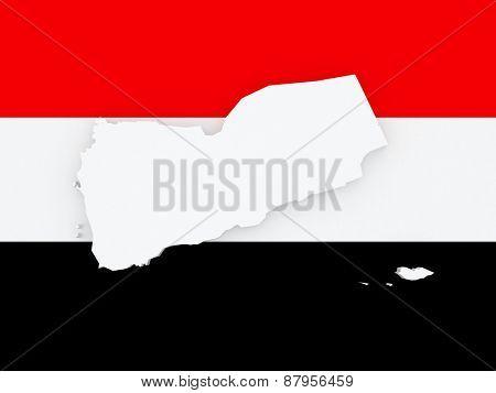 Map of Yemen. 3d
