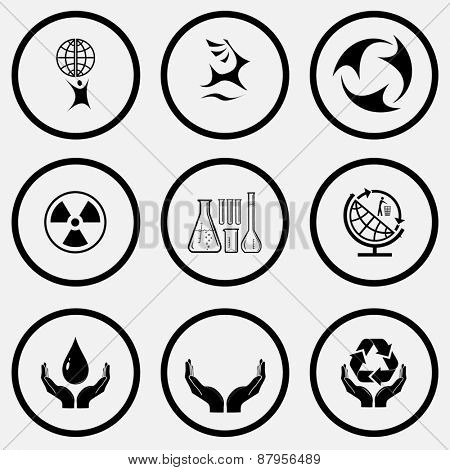 Ecology set. Black and white set raster icons.