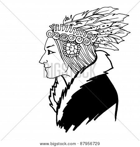 Woman American Indian sketch