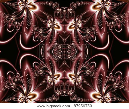 Flower Pattern In Fractal Design. Chocolate And Silver. Computer Generated Graphics.
