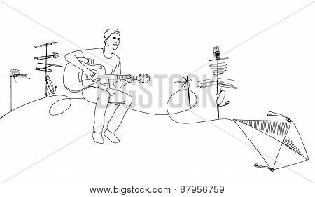 musician guitar player sitting on the roof