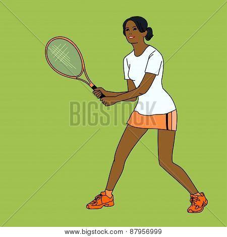 mulatto girl playing tennis
