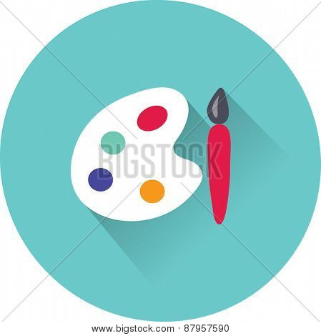 Paint brush with palette icon. Vector illustration