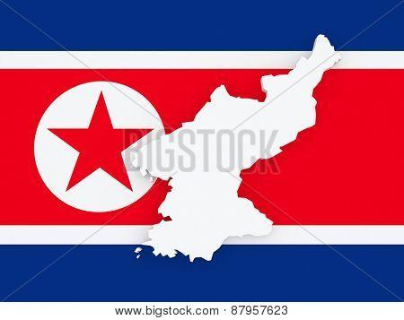 Map of North Korea. 3d