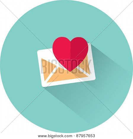 Vector heart and envelope icon. Flat illustration.