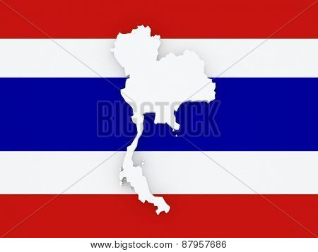 Map of Thailand. 3d