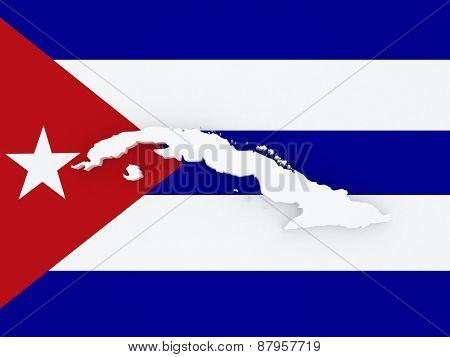 Map of Cuba. 3d