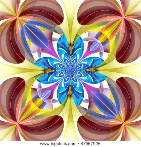 Symmetrical Pattern Of The Flower Petals. Blue And Brown Palette. Computer Generated Graphics.