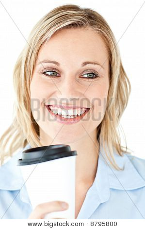 Delighted Businesswoman Holding A Cup Of Coffee