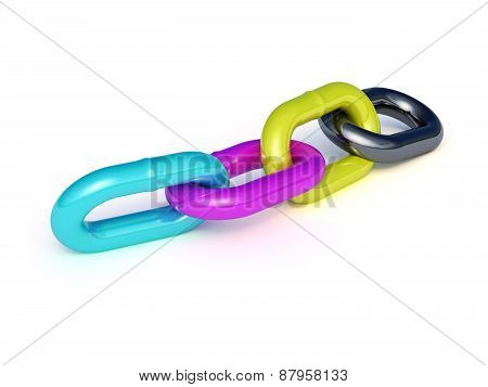 Cmyk Chain Isolated On White Background