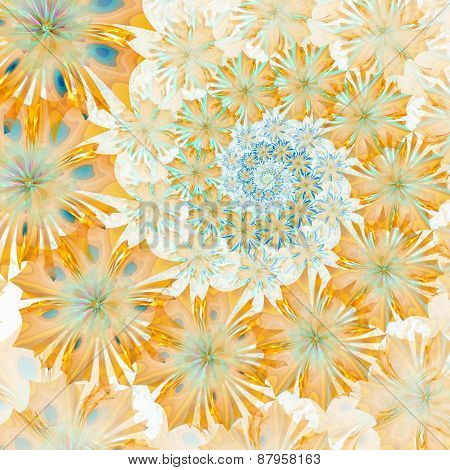 Spiral Flower Background. Yellow Palette. Computer Generated Graphics.