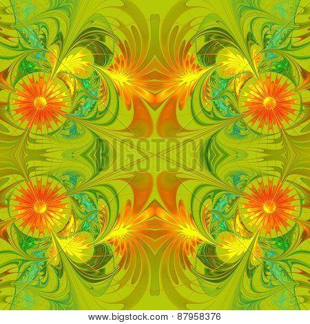 Flower Pattern. Orange And Green Palette. Fractal Design. Computer Generated Graphics.
