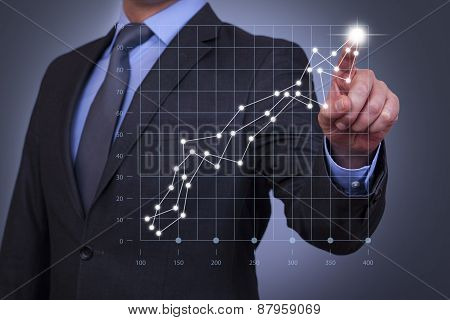 Businessman Touch Graph on Visual Screen