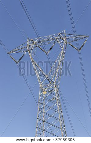 View Of Pylon Of Electricity In A Sunny Day