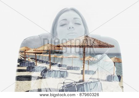 Double exposure of a female worker sitting in a chair and dreaming about beach