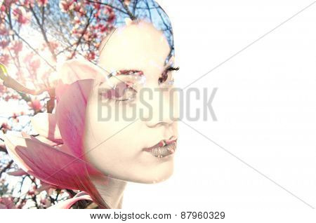Double exposure photo of a young woman and Magnolia flowers with copy space on the right