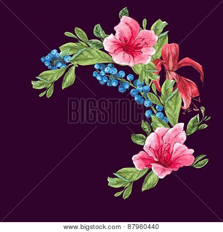 Invitation Vintage Card with Blueberries, Pink Tropical Flowers and Leaves