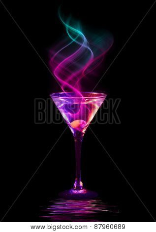 fresh modern coctail on the black background
