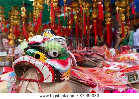 Traditional Chinese lion mask for celebrating new year