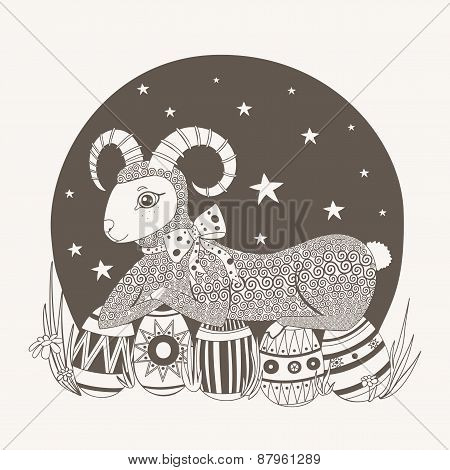 Easter illustration lamb on a background of the sky.