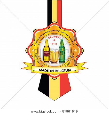 Belgium Beer advertising sticker / label for print