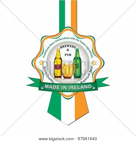 Irish Beer advertising sticker / label for print