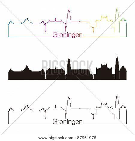 Groningen Skyline Linear Style With Rainbow