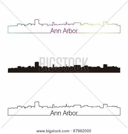 Ann Arbor Skyline Linear Style With Rainbow