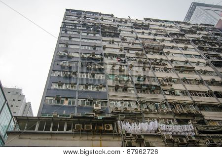 Air conditioning units on the side of an Hong Kong apartment building