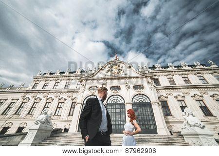 Wedding Couple On A Walk