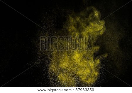 Abstract yellow and gold  paint Holi.