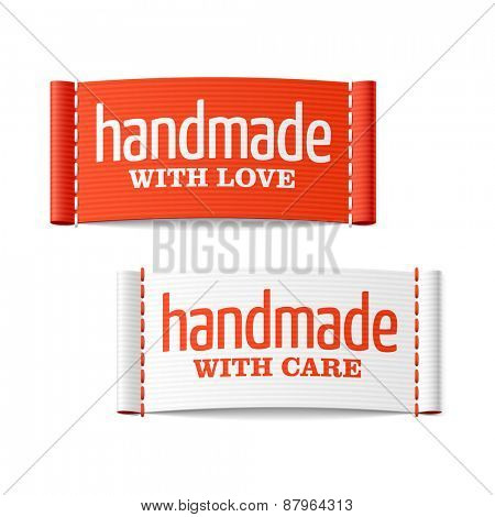 Handmade with love and care labels. Vector.