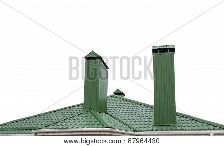 House From A Green Brick With A Pipe