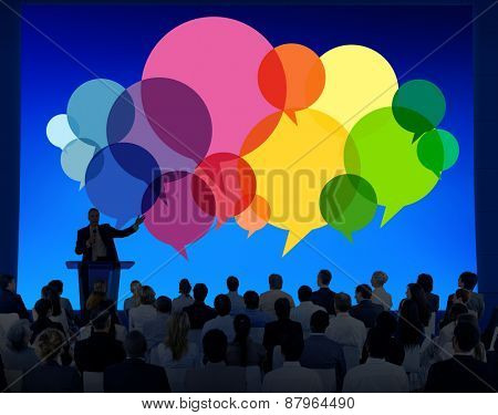 Business People Diverse Speaker Standing Communication Concept