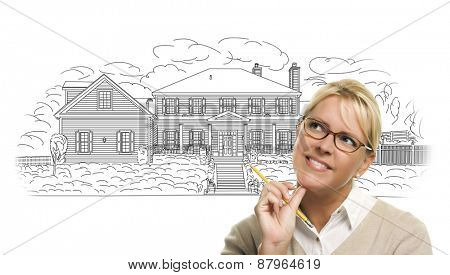 Woman with Pencil Over House Drawing on White Background.