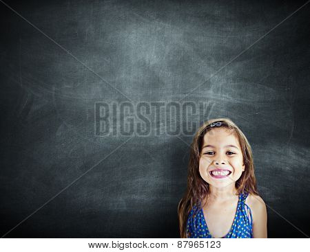 Little Girl Smiling Happiness Copy Space Blackboard Concept